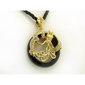 Gold Dragon Grasping Black Agate Necklace1