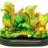 Golden Mandarin Ducks With Lotus1