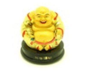 Golden Mini Seated Laughing Buddha Holding Ruyi