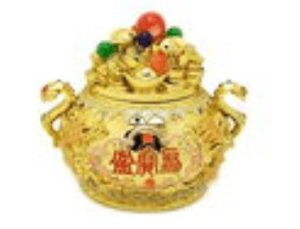 Golden Wealth Pot with Treasures and Catseye