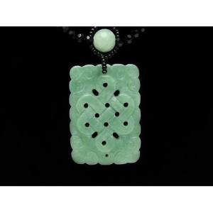 Jade Mystic Knot with Bat Necklace1