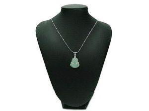 Jade Smiling Buddha Pendant with Necklace1
