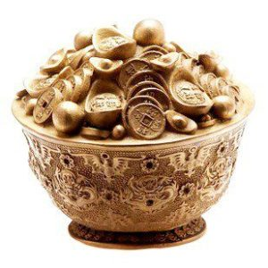 Money Bowl with Gold Ingots and Coins