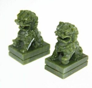 Pair of Protective Green Jade Temple Lions