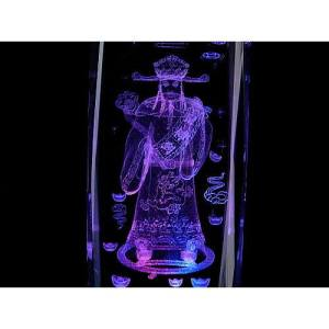 Wealth God 3D Laser Engraved Glass with Light Base1