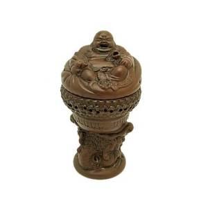 Zisha Clay Laughing Buddha with Ruyi Incense Burner1