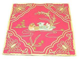 10Crt Gold Thread Silk Embroidered Mandarin Ducks Mat (Maroon)1