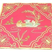 10Crt Gold Thread Silk Embroidered Mandarin Ducks Mat (Maroon)1