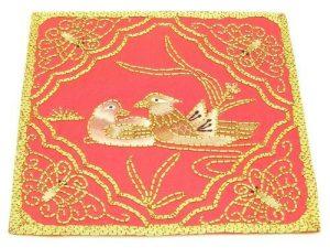 10Crt Gold Thread Silk Embroidered Mandarin Ducks Mat1