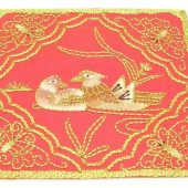 10Crt Gold Thread Silk Embroidered Mandarin Ducks Mat1