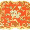 10Crt Gold Thread Silk Embroidered Peach Blossom Mat (Red)1