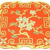 10Crt Gold Thread Silk Embroidered Peach Blossom Mat (Red)1