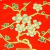 10Crt Gold Thread Silk Embroidered Peach Blossom Mat (Red)2