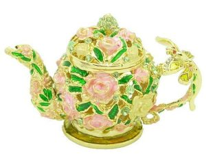 Bejeweled Wish-Fulfilling Rose Teapot With Dragonfly1
