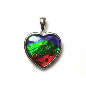 Canadian Ammolite Heart Shape Pendant with 925 Silver Frame1