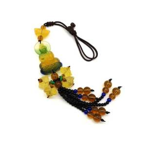 Colorful Liuli Kuan Yin with Lotuses Beaded Tassel1