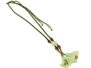 Double Tulips Jade Pendant With Necklace1