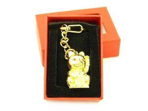 Fortune Cat Money Bringing Golden Key Chain1