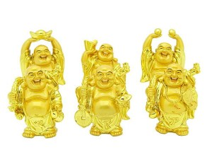Golden Laughing Buddha For Ultimate Wealth (Large Set Of 6)1