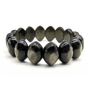 Golden Obsidian Olive Shaped Bangle Bracelet 金黑曜石1