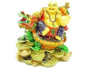 Laughing Buddha Sitting On Dragon Tortoise1