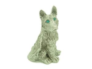 Lucky Pewter Dog With Sparkling Green Eyes1