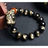Natural Black-Gold Obsidian Fengshui Pixiu Prosperity Bracelet1