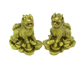 Red Eyed Chi Lins Sitting on Treasuress (1 Pair)1