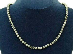 Round 6Mm Hematite Necklace1