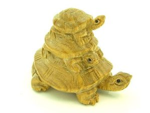 Three Tiered Tortoise Carving