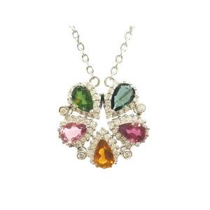 Tourmaline Flower 925 Silver Jewel Pendant (Top Grade)1
