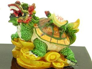 Vibrant Double Dragon Tortoises Carrying Coins And Child1