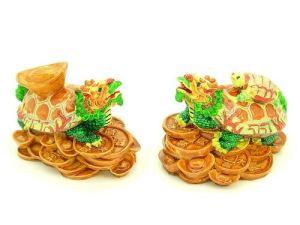 Vibrant Double Dragon Tortoises Carrying Gold Ingot and Child1