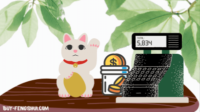 Chinese lucky cat on the cashier