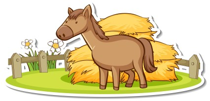 Cartoon character of a horse in the farm sticker illustration