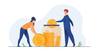 Family couple saving money