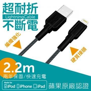 norm+ MFI/超耐折 Lightning 2.4A 快速充電傳輸線 (2.2m) - 2.2M Black