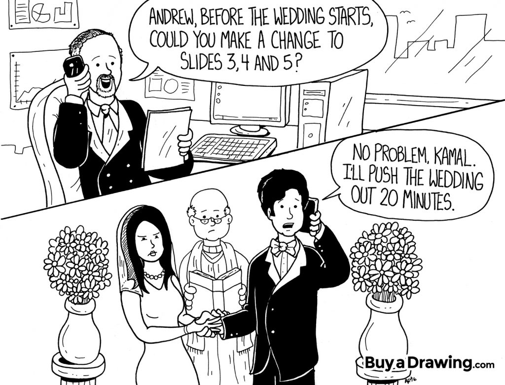 Funny Cartoon Wedding Drawing for a Co-Worker