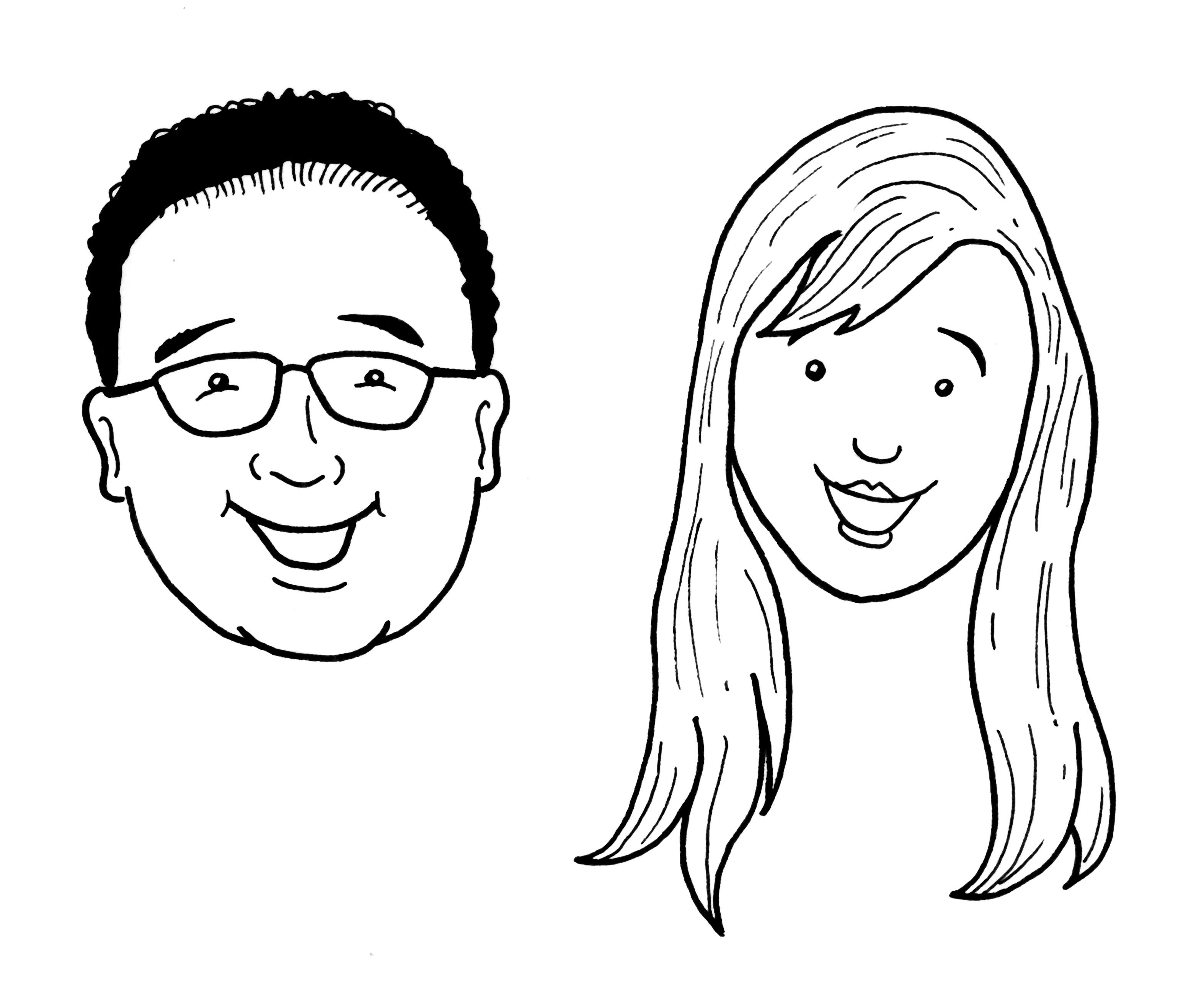 Cartoon Drawing Of Bride And Groom Faces For A Bridal Shower