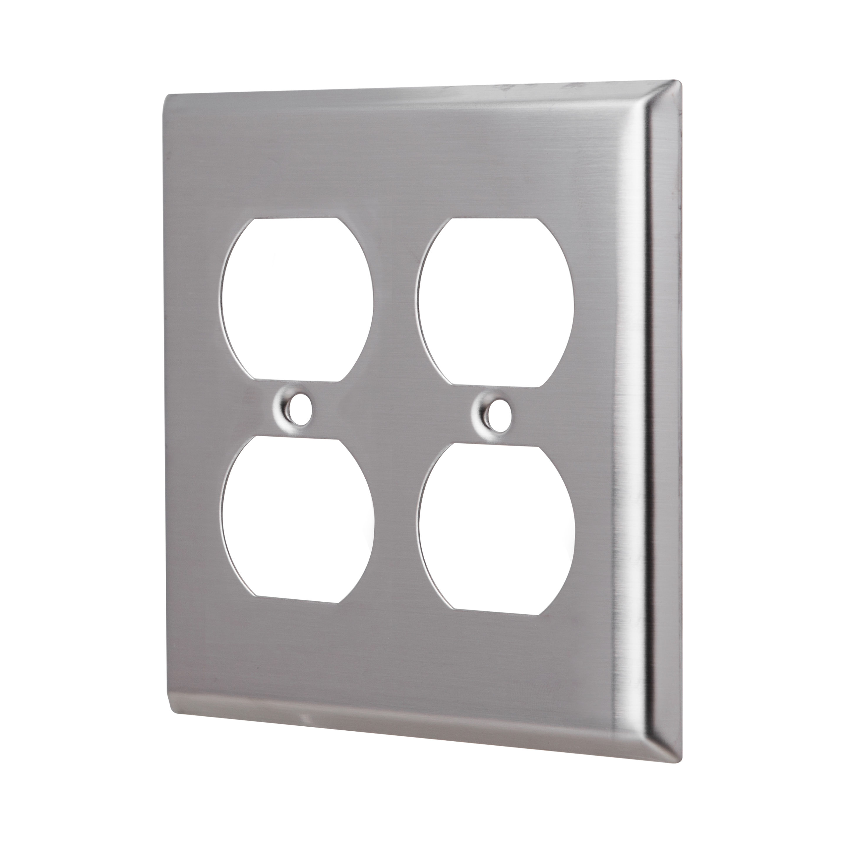 2 Gang Stainless Steel Duplex Receptacle Wall Plate