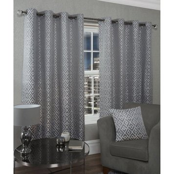 Athens Lined Eyelet Curtains - 90 Inches