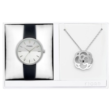 Fjord Ladies' Laurens Watch with Genuine Leather Strap and Necklace Gift Set