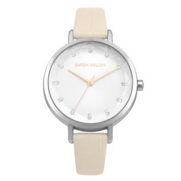 Karen Millen Ladies' Sunray Dial Watch with Croc Leather Strap