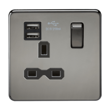 KnightsBridge 13A 1G Screwless Black Nickel 1G Switched Socket with Dual 5V USB Charger Ports - Black Insert