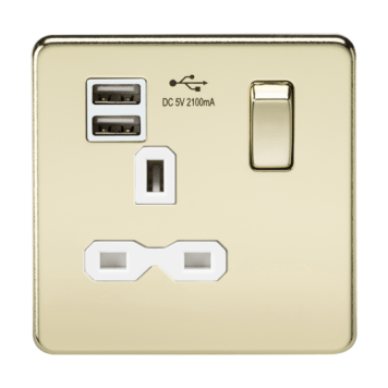 KnightsBridge 13A 1G Screwless Polished Brass 1G Switched Socket with Dual 5V USB Charger Ports - White Insert
