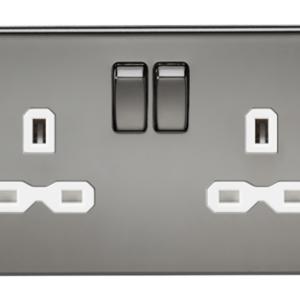 KnightsBridge 13A 2G DP Screwless Black Nickel 230V UK 3 Pin Switched Electric Wall Socket - White Insert