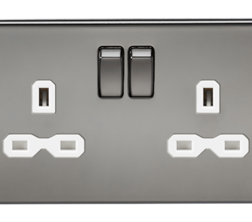 KnightsBridge 13A 2G DP Screwless Black Nickel 230V UK 3 Pin Switched Electric Wall Socket - White Insert