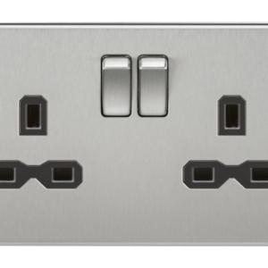 KnightsBridge 13A 2G DP Screwless Brushed Chrome 230V UK 3 Pin Switched Electric Wall Socket - White Insert