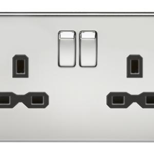 KnightsBridge 13A 2G DP Screwless Polished Chrome 230V UK 3 Pin Switched Electric Wall Socket - Black Insert
