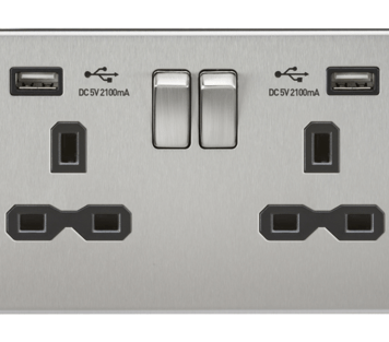 KnightsBridge 13A 2G Screwless Brushed Chrome 2G Switched Socket with Dual 5V USB Charger Ports - Black Insert